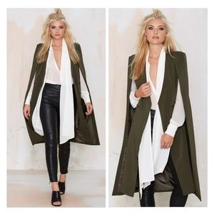 NEW NASTY GAL ALICE CAPE COAT ARMY GREEN